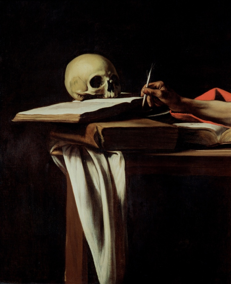 Saint Jerome Writing (detail) by Caravaggio