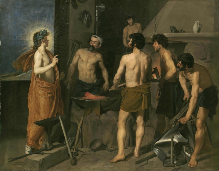Apollo in the forge of Vulcan, 1630. Velázquez.