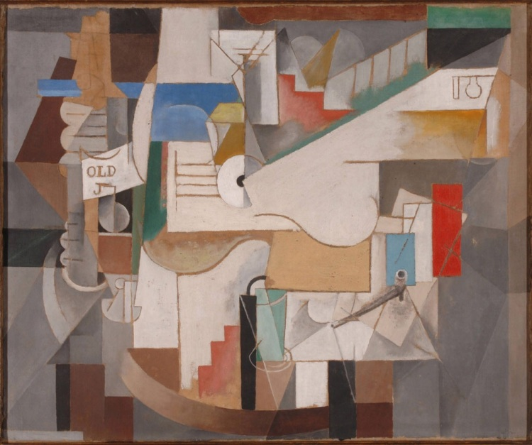 Bottle, Guitar, and Pipe by Picasso, Pablo