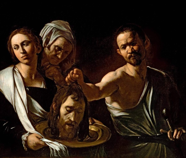 Caravaggio's Salome with the Head of John the Baptist, 1607.