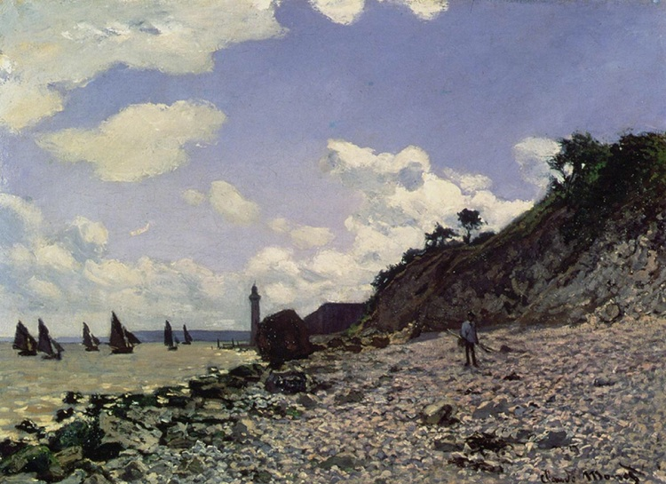 Beach at Honfleur by Monet, Claude. 1864