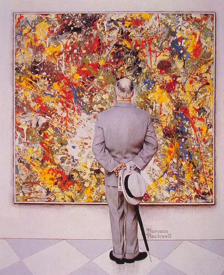 The Connoisseur: Rockwell's sarcastic take on Modern Art used as the cover for Tom Wolfe's THE PAINTED WORD.