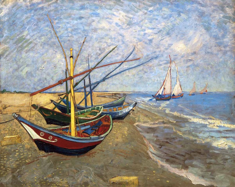 Fishing Boats on the Beach at Saintes-Maries-de-la-Mer by Gogh, Vincent van